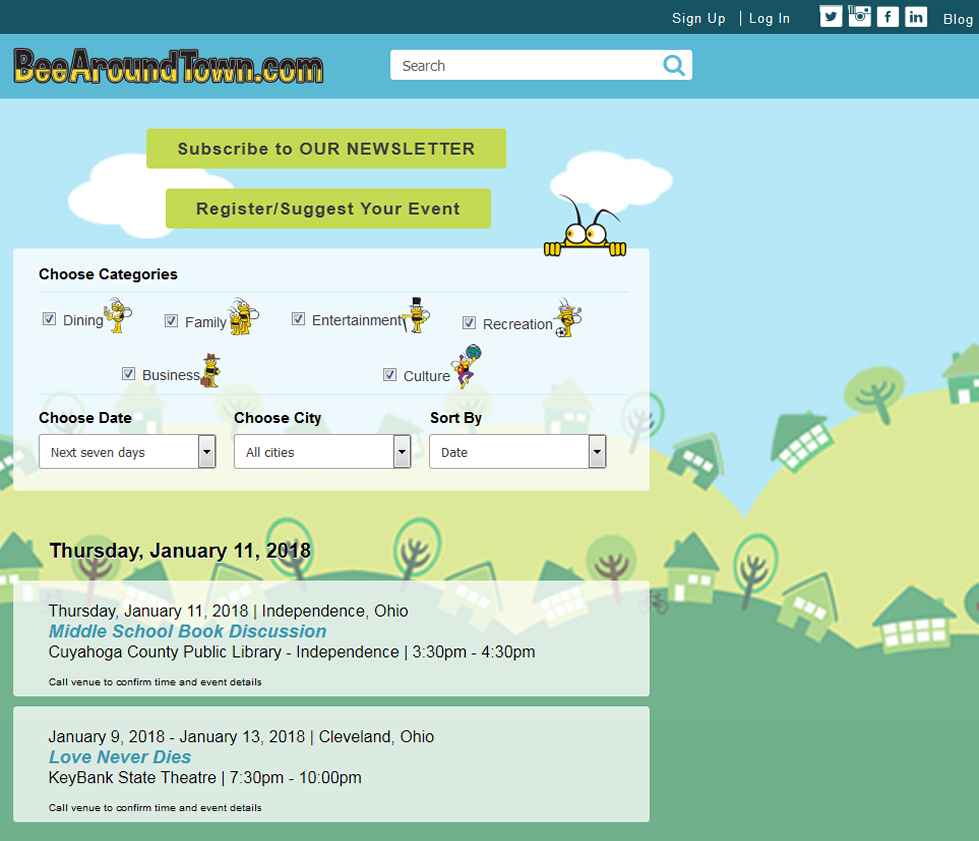 Screenshot of the Bee Around Town Home Page