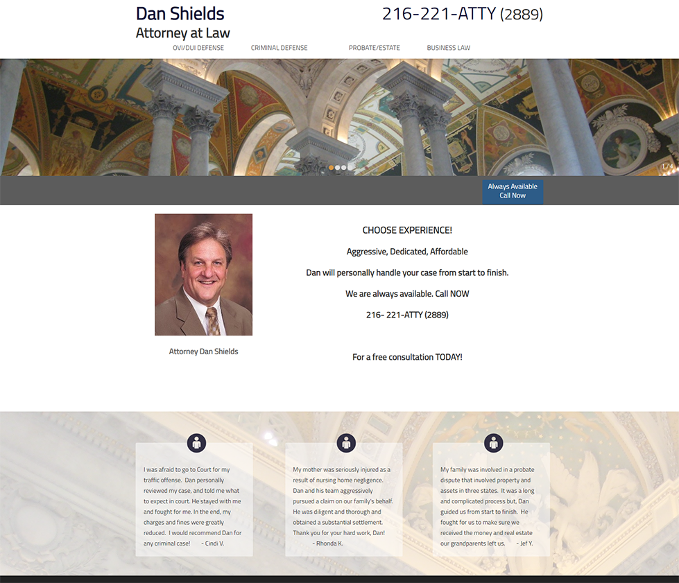 Screenshot of the Daniel E. Shields, Attorney Home Page